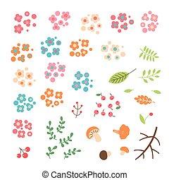 Set of flowers, leaves, berries drawn in a simple cartoon style.