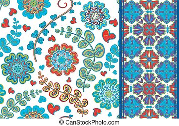 Set of flowers seamless pattern and border backgrounds. Vector illustration.