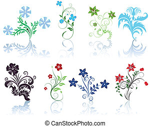 Set of different flowers pattern for making ornate backgrounds
