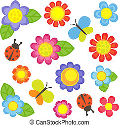 Set of flowers - Vector flowers, butterflies and ladybugs