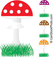 Set of fly agaric mushrooms in the grass