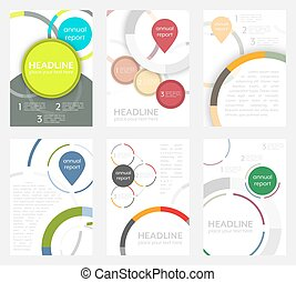 Set of flyer design with circular pattern. Corporate banner or brochure in A4 size.