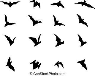 Set of flying bat silhouette icons, vector