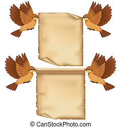 Set of flying birds cartoon with sheet of paper
