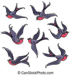 Set of flying bluebirds. Free birds. Symbol of happiness, ...