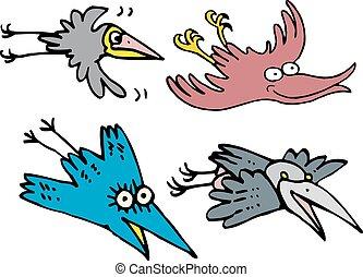 Set of flying comic cartoon crows