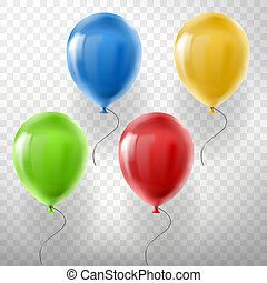 set of flying multicolored helium balloons
