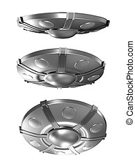 Set of flying saucer isolated
