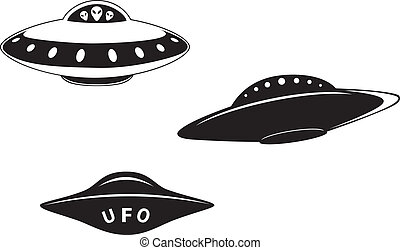 Set of abstract elemental vector flying saucers