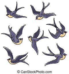 Set of flying swallows. Free birds. Symbol of hope, luck, early return home