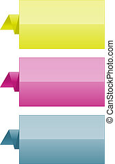 Set of three glossy color folded tags.