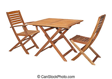 Set of folding wooden garden furniture - table and chairs isolated on white and with clipping path