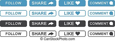 Set of follow, share, like, comment button icon in a flat design