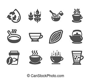 Set of Food and drink icons, such as Cocoa nut, Takeaway...