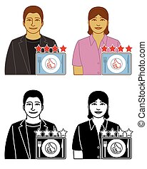set of food and restaurant critic vector icons male and ...