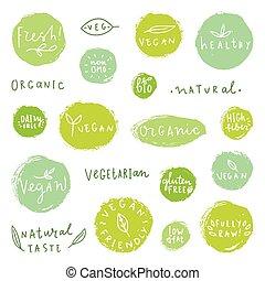 Set of food badges.