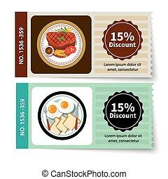 set of food coupon discount template design