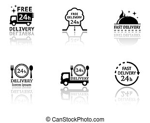 set of food delivery icons - set of black food delivery...
