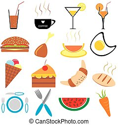 Set of Food Icons and Symbols