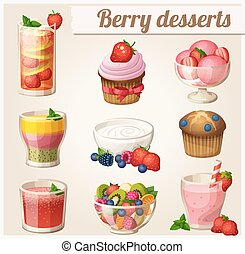 Set of food icons. Berry desserts - Set of food icons Berry...