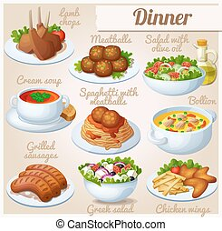Set of food icons. Dinner. Lamb chops, spaghetti with meat...