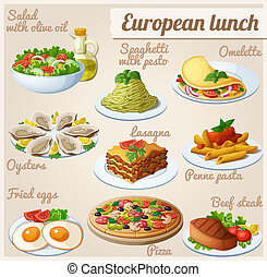 Set of food icons. European lunch - Fresh salad with olive ...