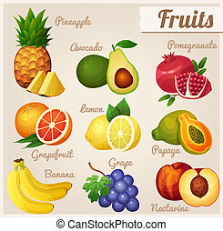 Pineapple, avocado, pomegranate, grapefruit, lemon, papaya, banana, grape, nectarine