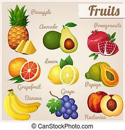 Set of food icons. Fruits. - Pineapple, avocado,...