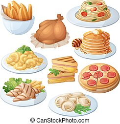 Set of food icons isolated on white background. Dinner