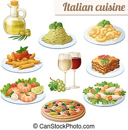 Set of food icons isolated on white background. Italian cuisine.