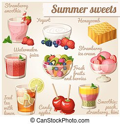 Set of food icons. Summer sweets