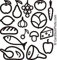 set of food ingredient