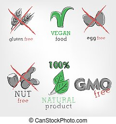 Set of food ingredients icons