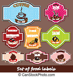 set of food labels