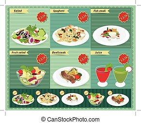 Set of food menu, Salad, Shrimp and spaghetti, Fish steak, ...