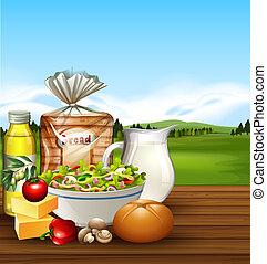Set of food scene