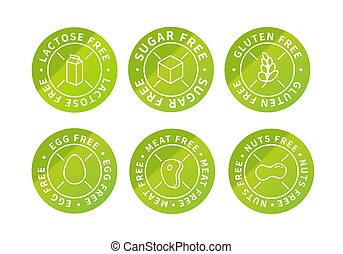 Set of food simple bright green eco icons, lactose free, sugar free, nuts free, egg free, meat free, gluten free on white