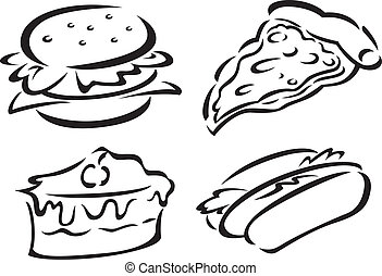 set of food sketch