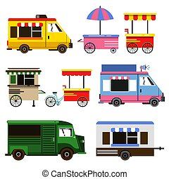 Set of food trucks and bicycles for commercial use. Vector illustration set