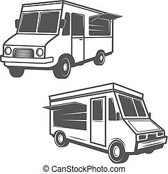 Set of food trucks isolated on white background. Design elements