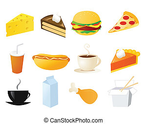 set of food vector icons