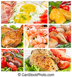 Set of food with meat, chicken and shrimp