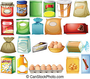 Set of foods - Illustration of a set of foods on a white...