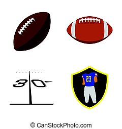 Set of football related objects