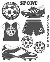 Set of football, soccer emblem design elements. Vector