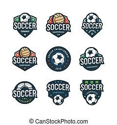 set of football, soccer logos. sport emblems. vector illustration