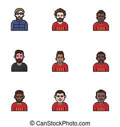 football team avatar flat line icon.