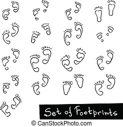Set of Footprint Doodle Icons, human footstep. Vector...