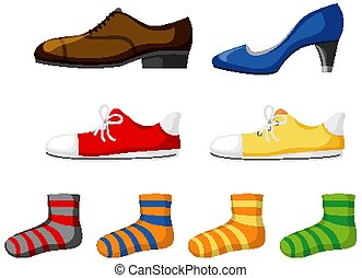 Set of footwear isolated