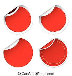Set of for red stickers